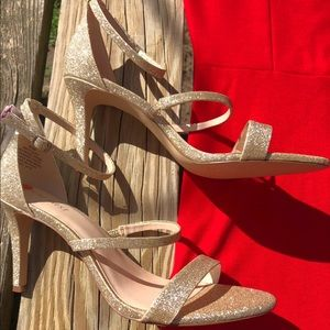 Strappy Gold Glitter Sandals